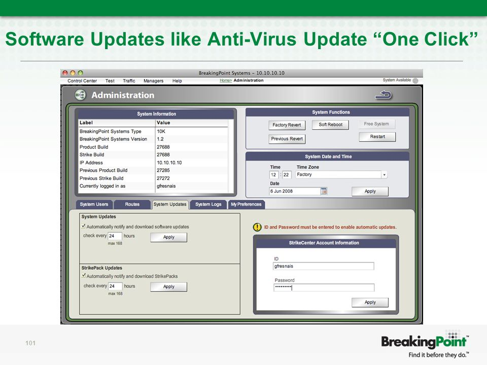 Software Updates like Anti-Virus Update One Click 101
