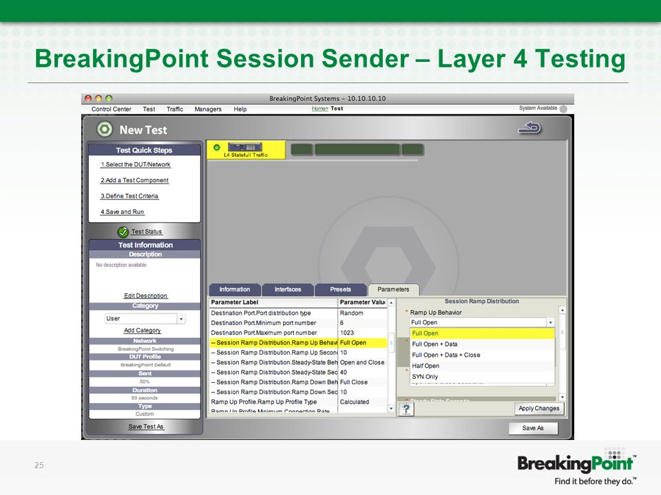 BreakingPoint Session Sender – Layer 4 Testing 25