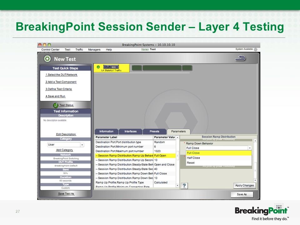 27 BreakingPoint Session Sender – Layer 4 Testing