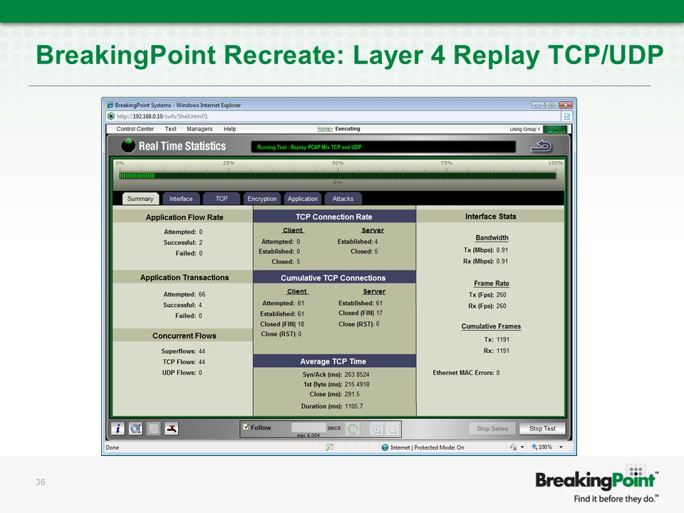 BreakingPoint Recreate: Layer 4 Replay TCP/UDP 36