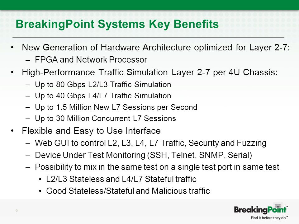 BreakingPoint Systems Key Benefits New Generation of Hardware Architecture optimized for Layer 2-7: –FPGA and Network Processor High-Performance Traffic Simulation Layer 2-7 per 4U Chassis: –Up to 80 Gbps L2/L3 Traffic Simulation –Up to 40 Gbps L4/L7 Traffic Simulation –Up to 1.5 Million New L7 Sessions per Second –Up to 30 Million Concurrent L7 Sessions Flexible and Easy to Use Interface –Web GUI to control L2, L3, L4, L7 Traffic, Security and Fuzzing –Device Under Test Monitoring (SSH, Telnet, SNMP, Serial) –Possibility to mix in the same test on a single test port in same test L2/L3 Stateless and L4/L7 Stateful traffic Good Stateless/Stateful and Malicious traffic 5