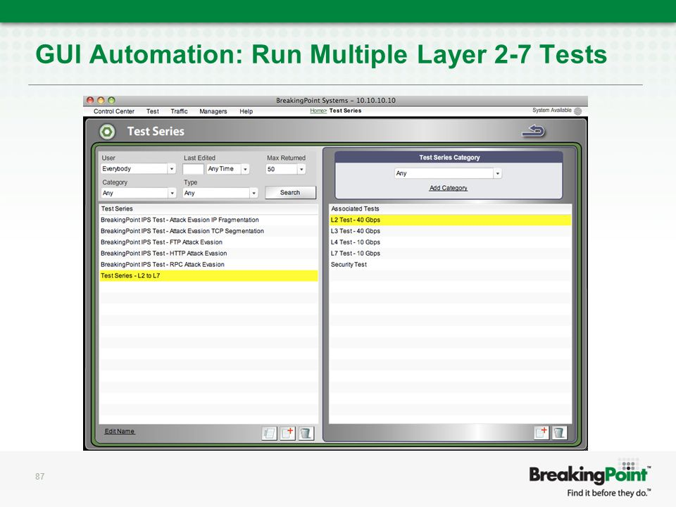 GUI Automation: Run Multiple Layer 2-7 Tests 87