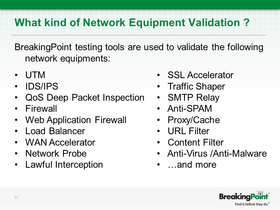 What kind of Network Equipment Validation .