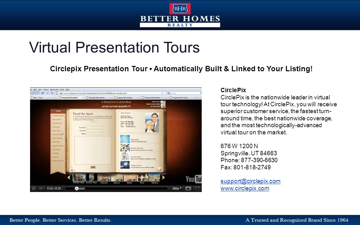 Virtual Presentation Tours Circlepix Presentation Tour Automatically Built & Linked to Your Listing.