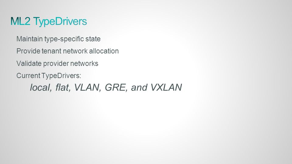 Maintain type-specific state Provide tenant network allocation Validate provider networks Current TypeDrivers: local, flat, VLAN, GRE, and VXLAN