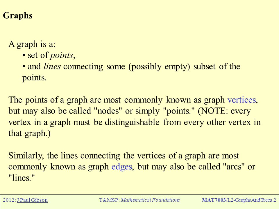 2012: J Paul GibsonT&MSP: Mathematical FoundationsMAT7003/L2-GraphsAndTrees.2 Graphs A graph is a: set of points, and lines connecting some (possibly empty) subset of the points.