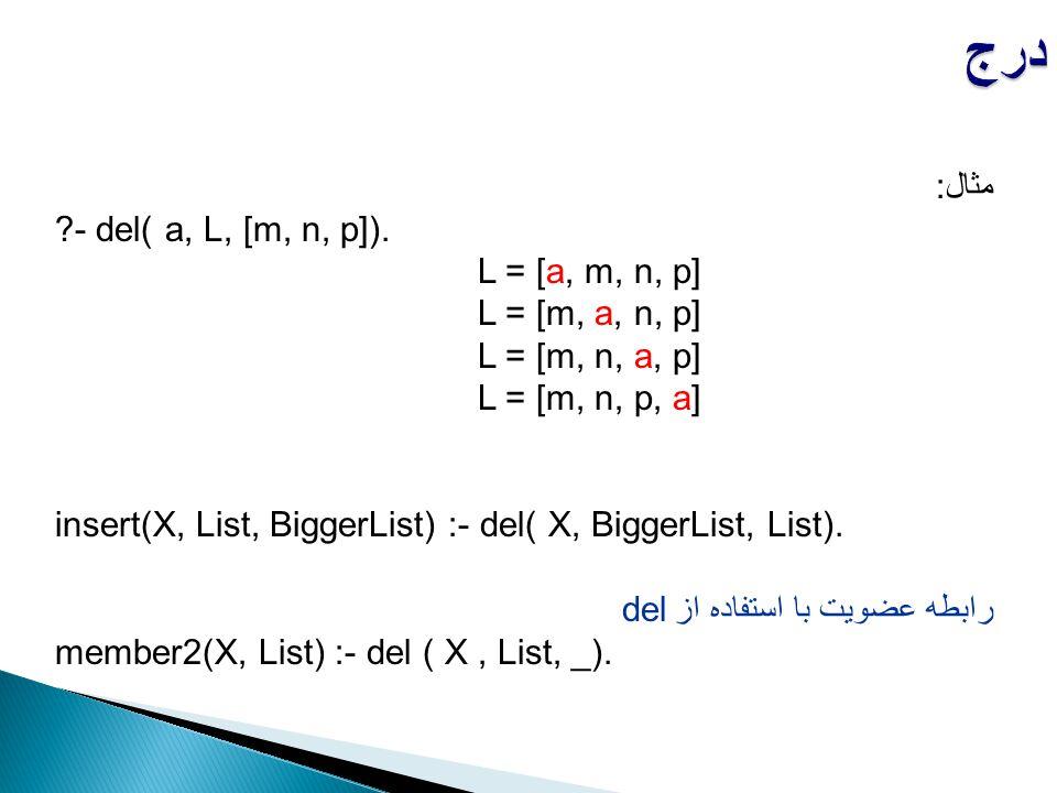 مثال: ?- del( a, L, [m, n, p]). L = [a, m, n, p] L = [m, a, n, p] L = [m, n, a, p] L = [m, n, p, a] insert(X, List, BiggerList) :- del( X, BiggerList,
