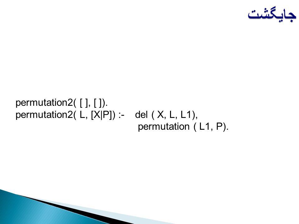 permutation2( [ ], [ ]). permutation2( L, [X|P]) :-del ( X, L, L1), permutation ( L1, P). جایگشت