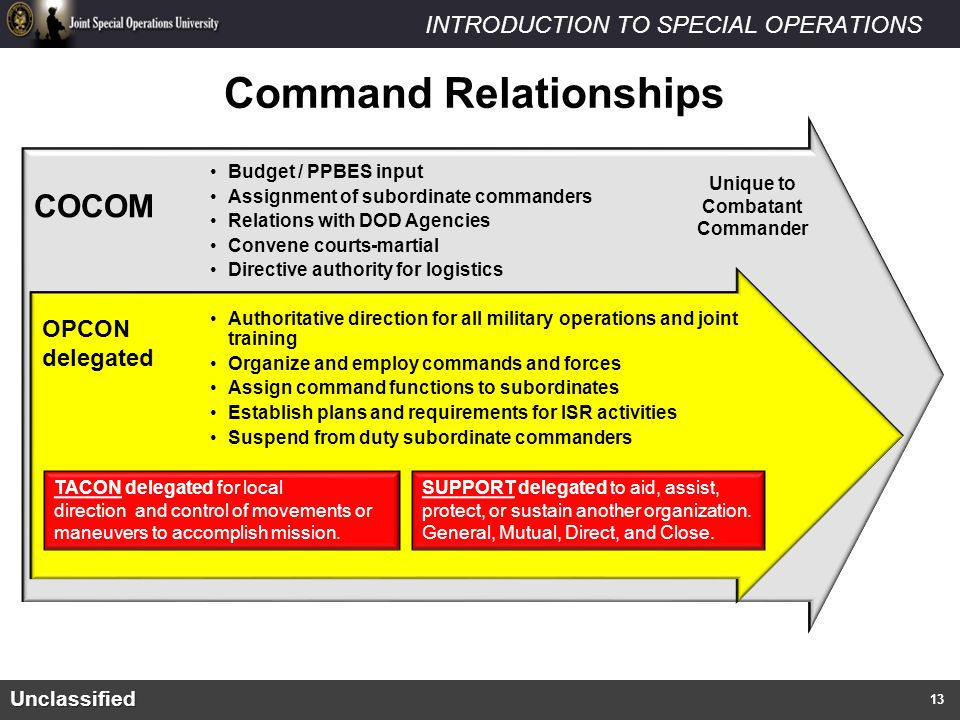 INTRODUCTION TO SPECIAL OPERATIONS What are Special Operations? Unclassified Budget / PPBES input Assignment of subordinate commanders Relations with