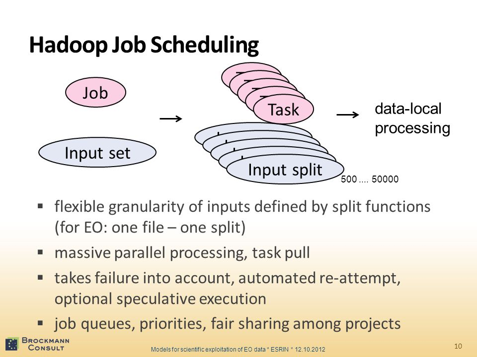 Hadoop Job Scheduling 10  flexible granularity of inputs defined by split functions (for EO: one file – one split)  massive parallel processing, task pull  takes failure into account, automated re-attempt, optional speculative execution  job queues, priorities, fair sharing among projects Job Input set Task Input split Task Input split Task Input split Task Input split Task Input split data-local processing Models for scientific exploitation of EO data * ESRIN * 12.10.2012 500....