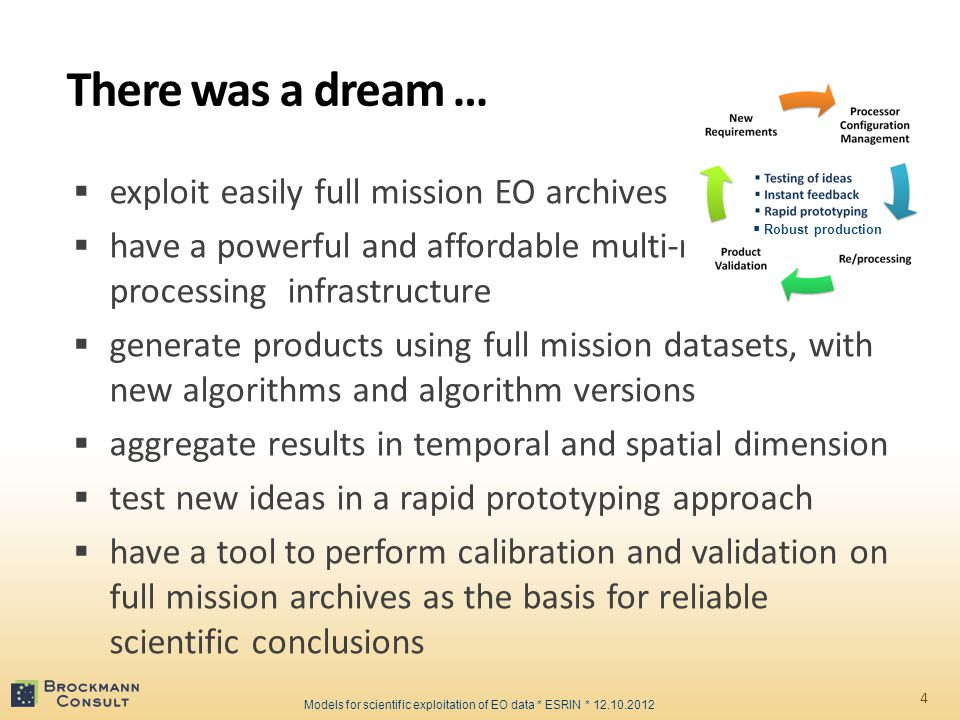  exploit easily full mission EO archives  have a powerful and affordable multi-mission processing infrastructure  generate products using full mission datasets, with new algorithms and algorithm versions  aggregate results in temporal and spatial dimension  test new ideas in a rapid prototyping approach  have a tool to perform calibration and validation on full mission archives as the basis for reliable scientific conclusions There was a dream … 4 Models for scientific exploitation of EO data * ESRIN * 12.10.2012  Robust production