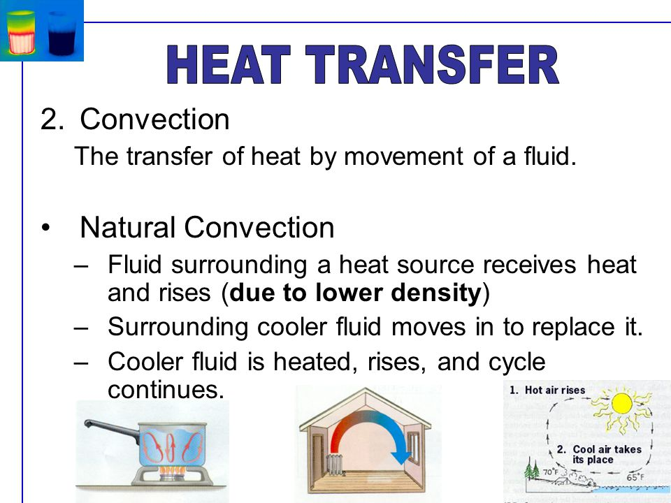 2.Convection The transfer of heat by movement of a fluid.