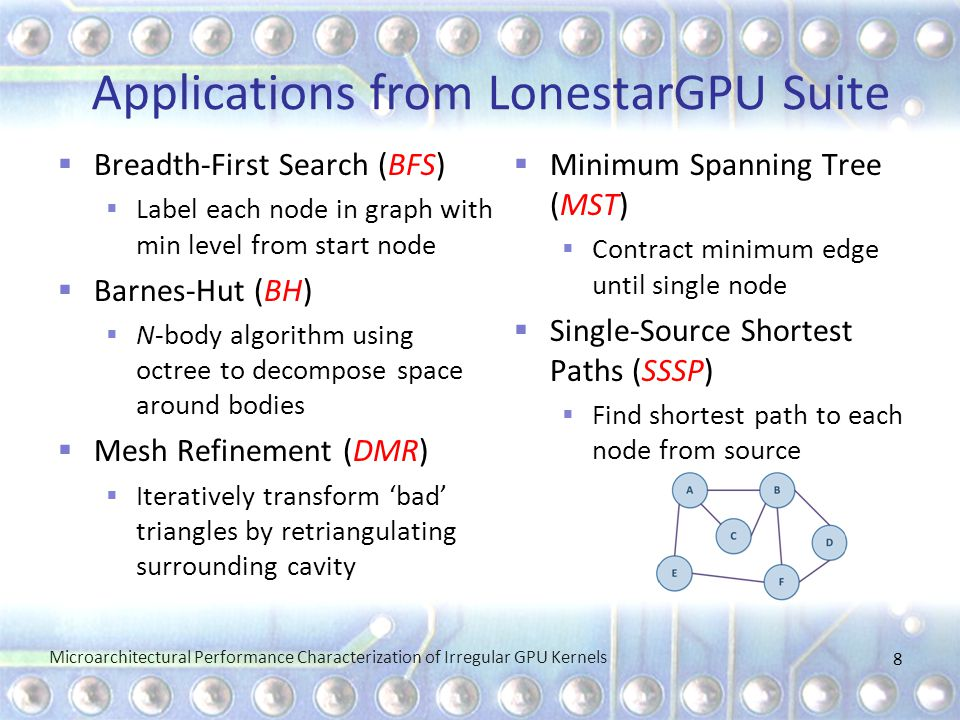 Applications from LonestarGPU Suite  Breadth-First Search (BFS)  Label each node in graph with min level from start node  Barnes-Hut (BH)  N-body algorithm using octree to decompose space around bodies  Mesh Refinement (DMR)  Iteratively transform 'bad' triangles by retriangulating surrounding cavity  Minimum Spanning Tree (MST)  Contract minimum edge until single node  Single-Source Shortest Paths (SSSP)  Find shortest path to each node from source 8 Microarchitectural Performance Characterization of Irregular GPU Kernels