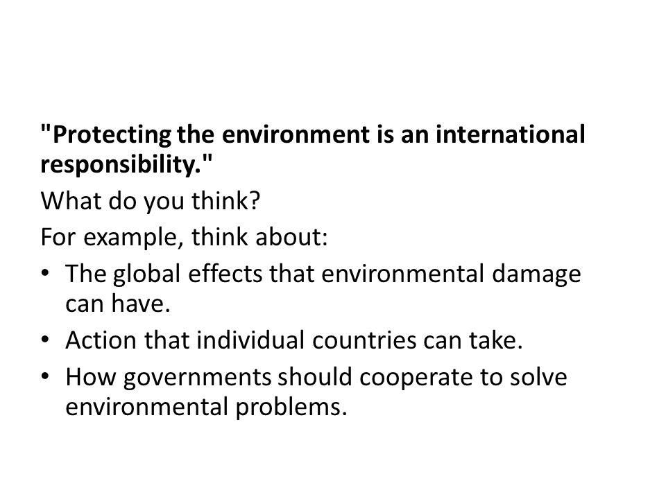 Protecting the environment is an international responsibility. What do you think.