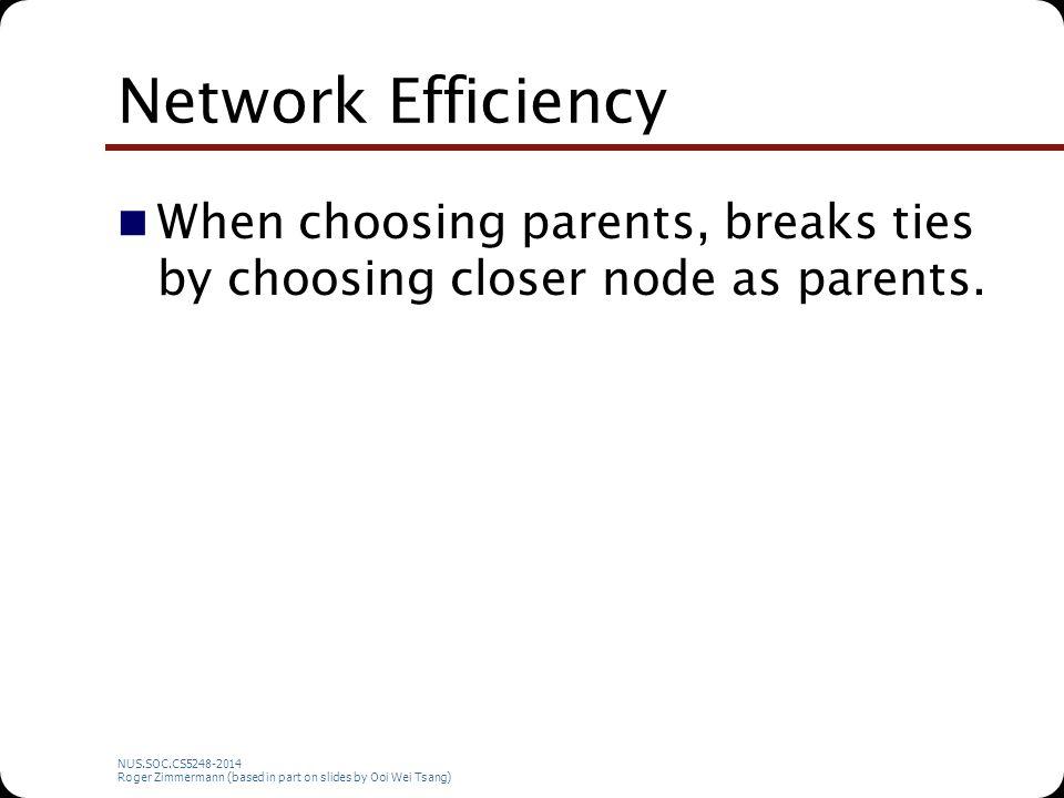 NUS.SOC.CS5248-2014 Roger Zimmermann (based in part on slides by Ooi Wei Tsang) Network Efficiency When choosing parents, breaks ties by choosing closer node as parents.