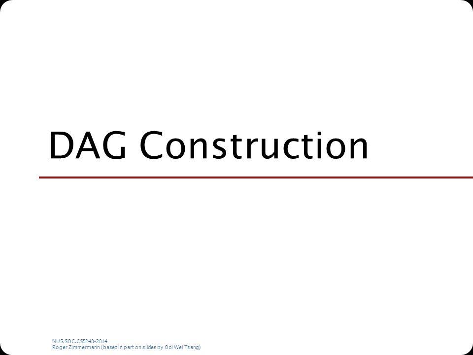 NUS.SOC.CS5248-2014 Roger Zimmermann (based in part on slides by Ooi Wei Tsang) DAG Construction