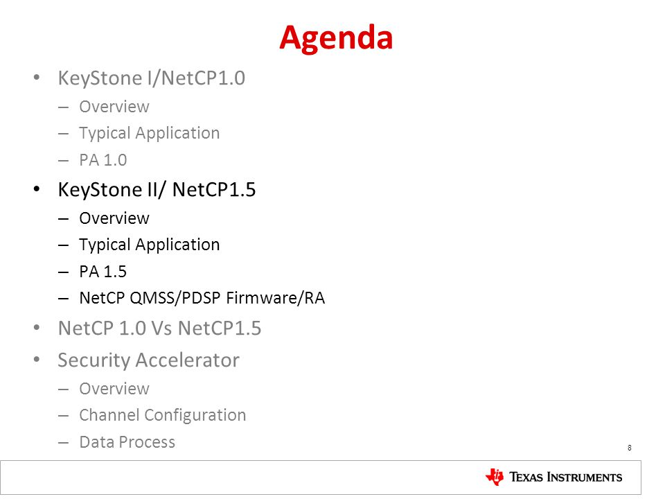 Agenda KeyStone I/NetCP1.0 – Overview – Typical Application – PA 1.0 KeyStone II/ NetCP1.5 – Overview – Typical Application – PA 1.5 – NetCP QMSS/PDSP Firmware/RA NetCP 1.0 Vs NetCP1.5 Security Accelerator – Overview – Channel Configuration – Data Process 8