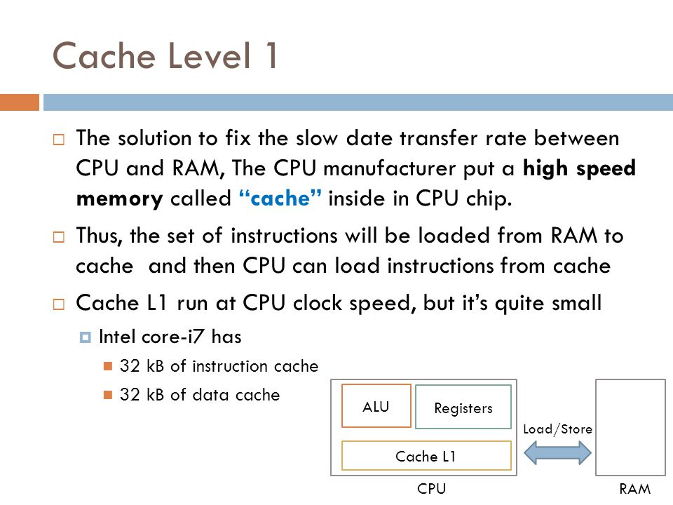 Cache Level 2  Only cache L1 is not enough to improve PC performance that much.