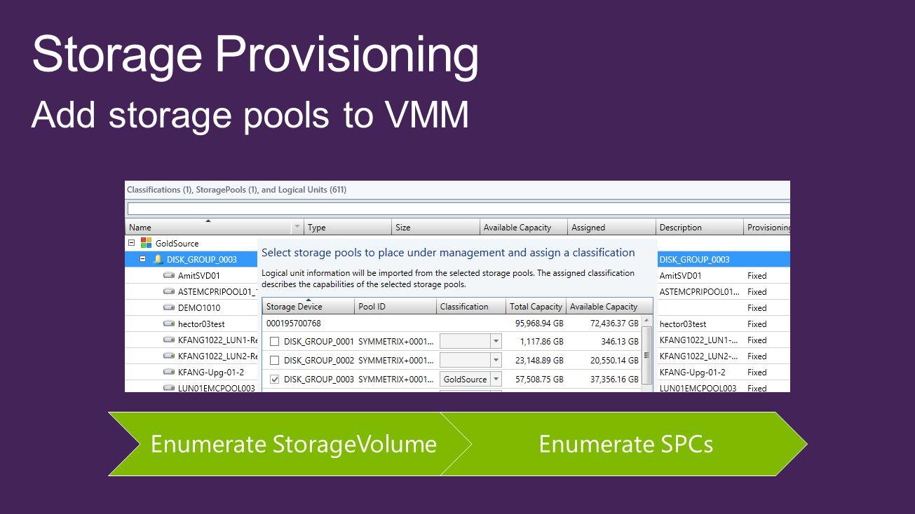 Enumerate StorageVolumeEnumerate SPCs