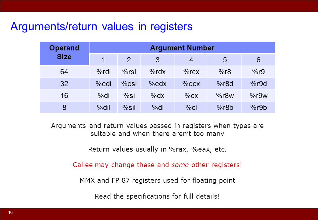 © 2010 Noah Mendelsohn Arguments/return values in registers 16 Arguments and return values passed in registers when types are suitable and when there
