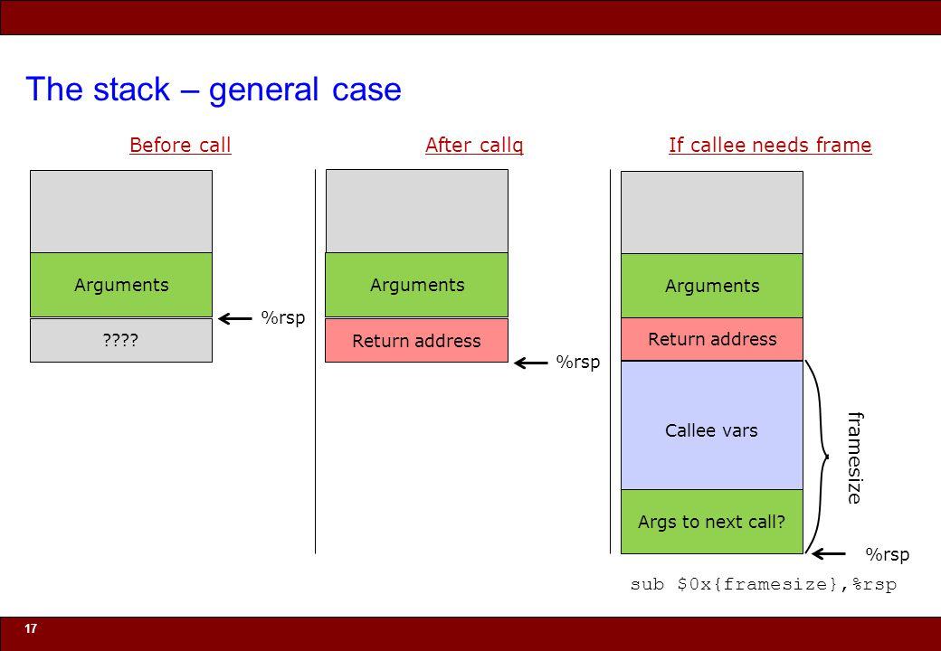 © 2010 Noah Mendelsohn The stack – general case 17 Before call .