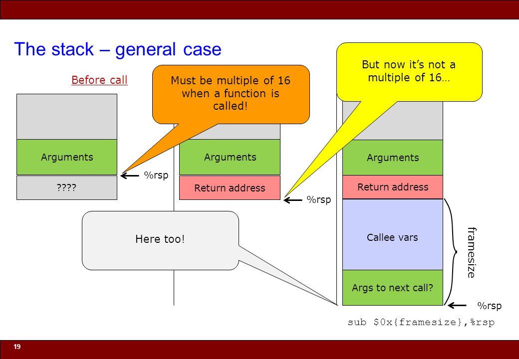 © 2010 Noah Mendelsohn The stack – general case 19 Before call .