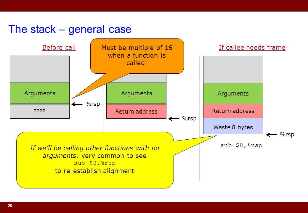 © 2010 Noah Mendelsohn The stack – general case 20 Before call .