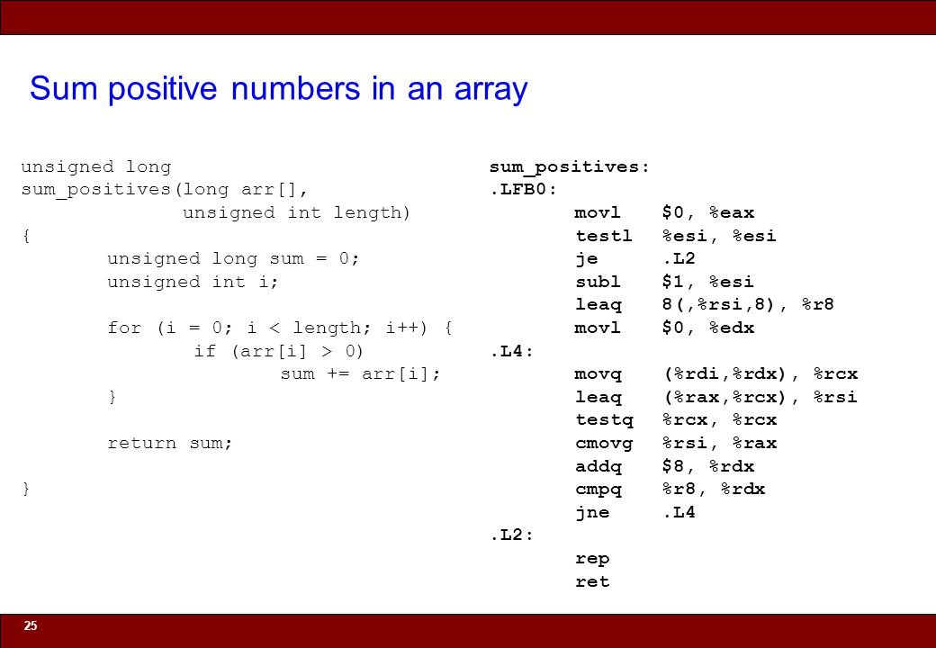 © 2010 Noah Mendelsohn Sum positive numbers in an array 25 unsigned long sum_positives(long arr[], unsigned int length) { unsigned long sum = 0; unsig