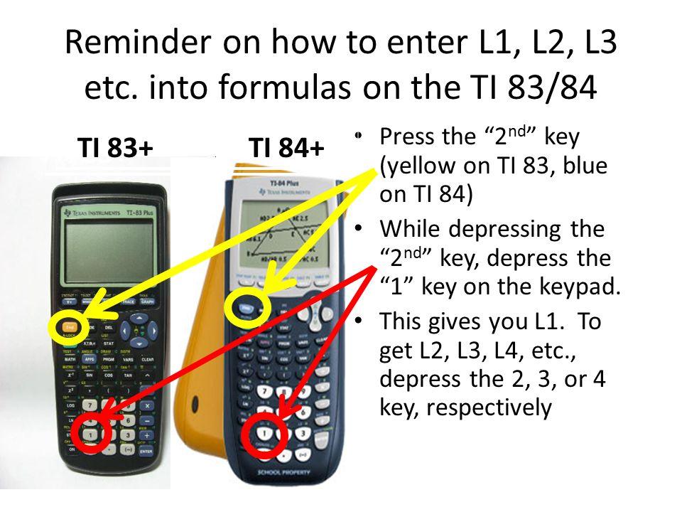 Reminder on how to enter L1, L2, L3 etc.