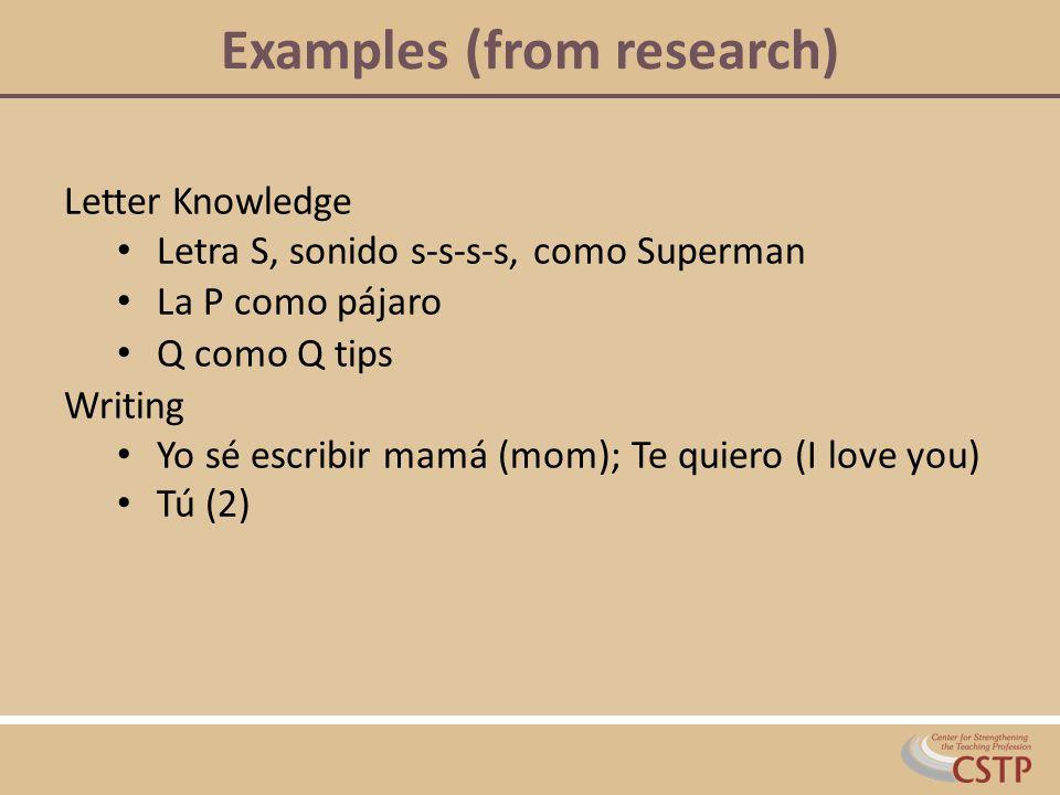 Examples (from research) Letter Knowledge Letra S, sonido s-s-s-s, como Superman La P como pájaro Q como Q tips Writing Yo sé escribir mamá (mom); Te