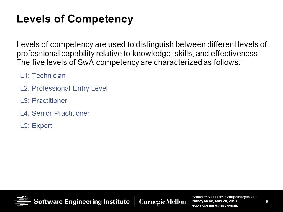 20 Software Assurance Competency Model Nancy Mead, May 20, 2013 © 2013 Carnegie Mellon University Uses of the model We envision the following uses: Since it is a general model, industry and government organizations can instantiate the model for their own use.