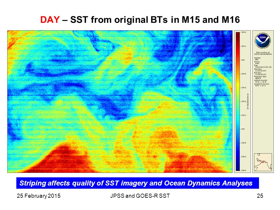 DAY – SST from original BTs in M15 and M16 2525 February 2015JPSS and GOES-R SST Striping affects quality of SST imagery and Ocean Dynamics Analyses