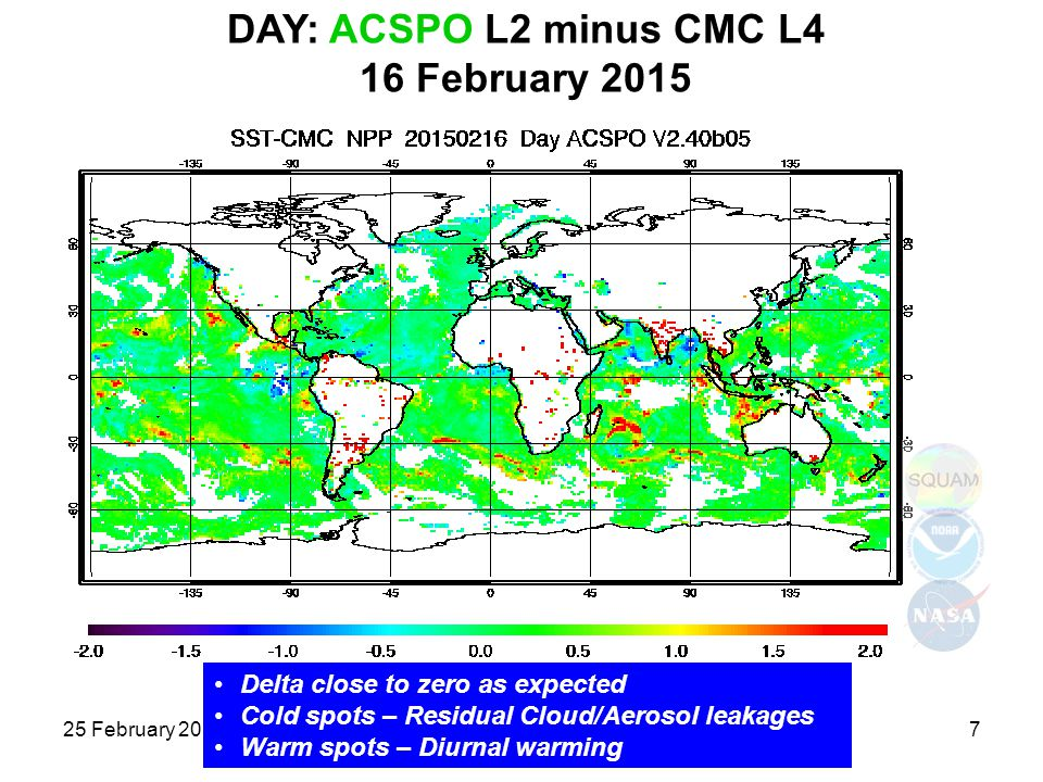 DAY: ACSPO L2 minus CMC L4 16 February 2015 25 February 2015JPSS and GOES-R SST7 Delta close to zero as expected Cold spots – Residual Cloud/Aerosol l