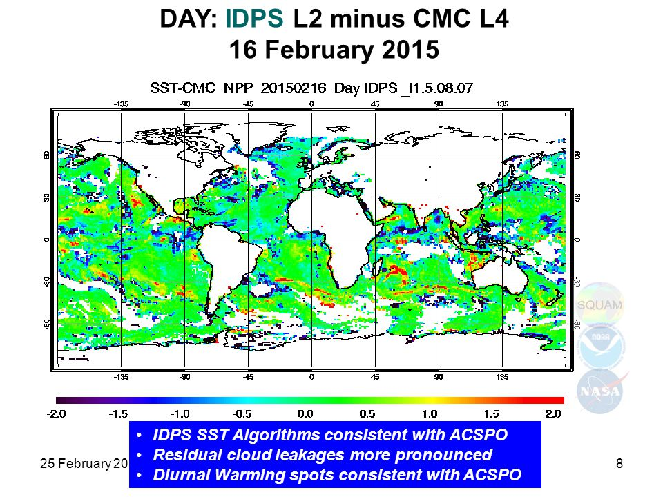 DAY: IDPS L2 minus CMC L4 16 February 2015 25 February 2015JPSS and GOES-R SST8 IDPS SST Algorithms consistent with ACSPO Residual cloud leakages more