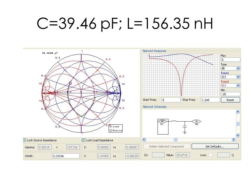 C=39.46 pF; L=156.35 nH