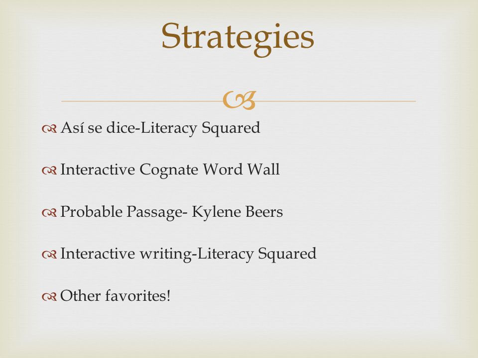 Así se dice Literacy Squared-Kathy Escamilla Purpose: Explicit translation practice helps language learners navigate between languages and experience the subtleties of language as well as get the gist of meaning.