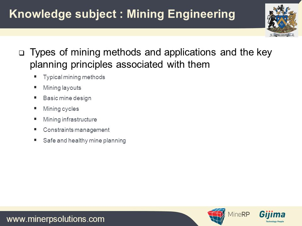 www.minerpsolutions.com  Types of mining methods and applications and the key planning principles associated with them  Typical mining methods  Mining layouts  Basic mine design  Mining cycles  Mining infrastructure  Constraints management  Safe and healthy mine planning Knowledge subject : Mining Engineering