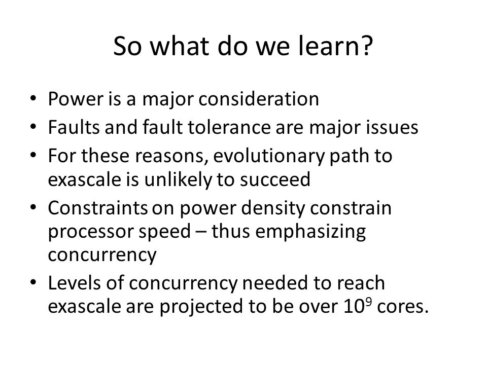 So what do we learn.