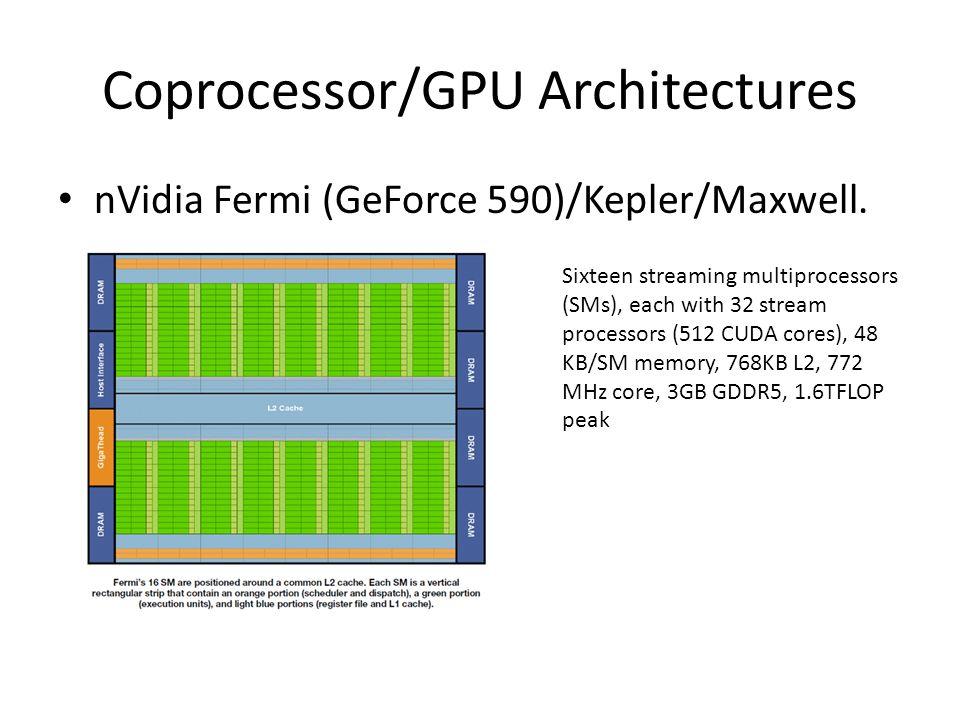 Coprocessor/GPU Architectures nVidia Fermi (GeForce 590)/Kepler/Maxwell.