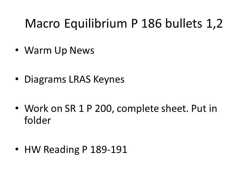 Macro Equilibrium P 186 bullets 1,2 Warm Up News Diagrams LRAS Keynes Work on SR 1 P 200, complete sheet.