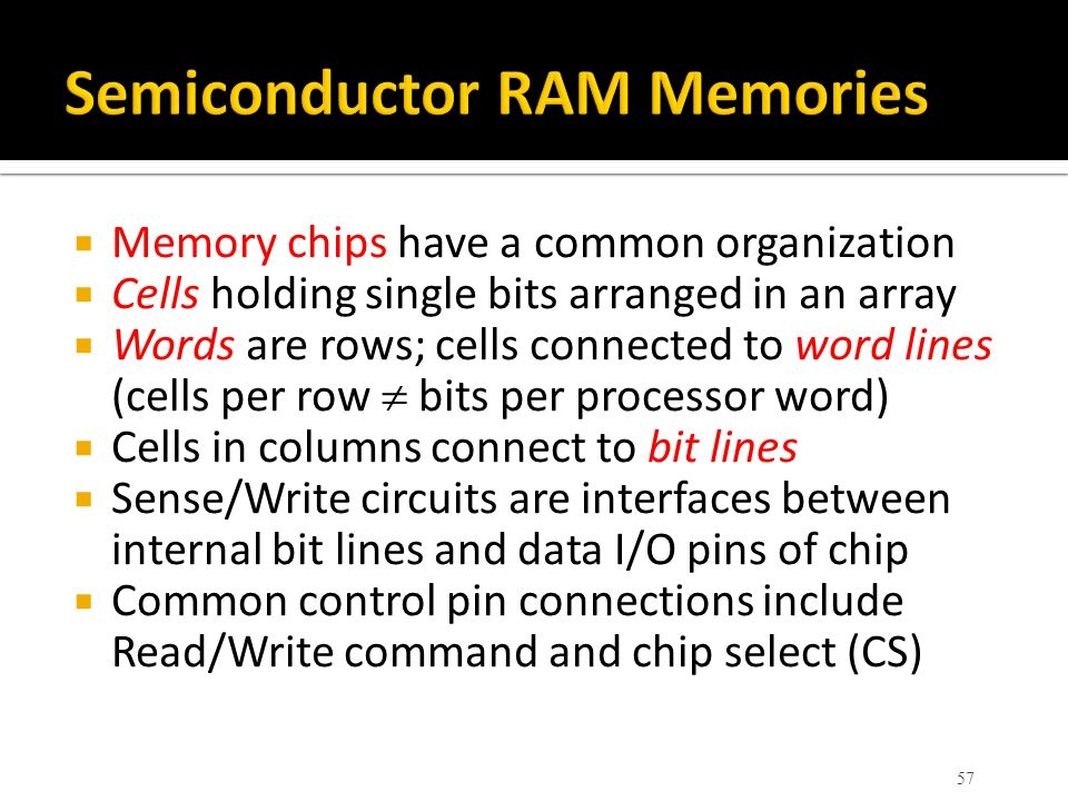 Memory chips have a common organization  Cells holding single bits arranged in an array  Words are rows; cells connected to word lines (cells per
