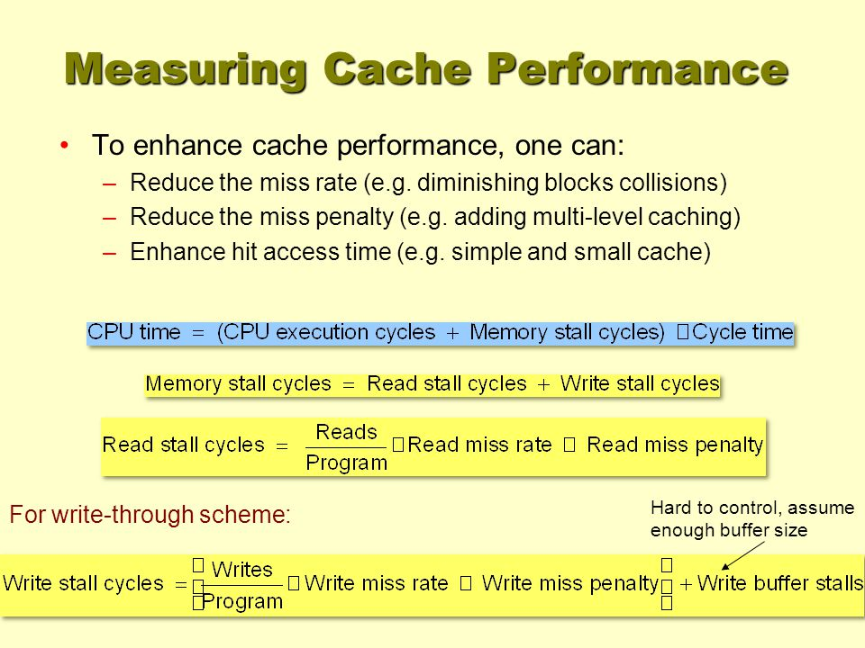 For write-through scheme: Hard to control, assume enough buffer size Measuring Cache Performance To enhance cache performance, one can: –Reduce the miss rate (e.g.