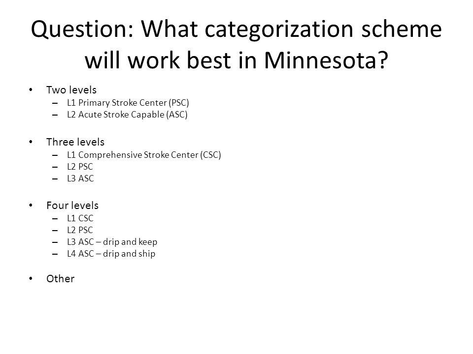 Question: What categorization scheme will work best in Minnesota.