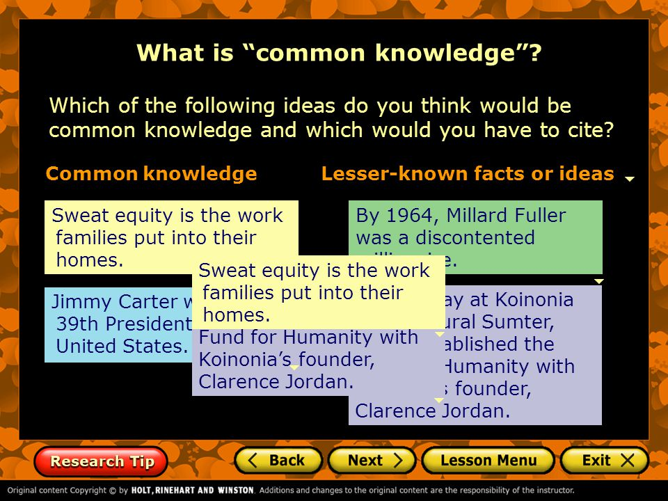 What is common knowledge .