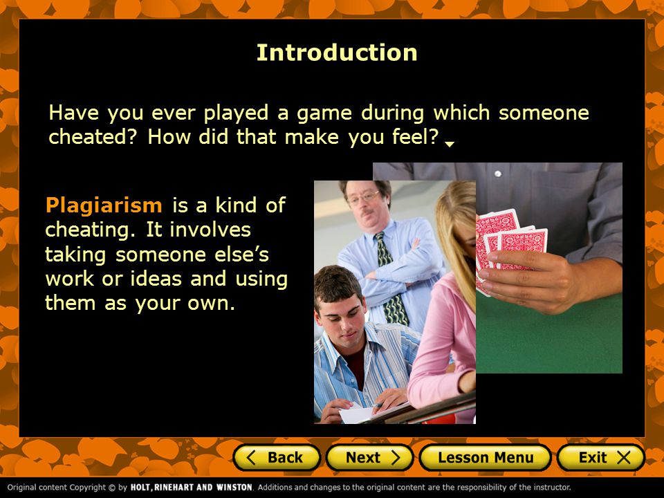 Introduction Have you ever played a game during which someone cheated.