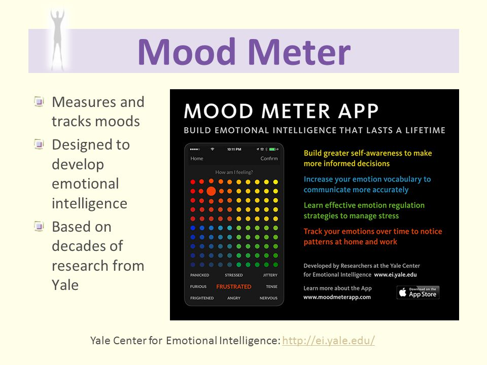 Mood Meter Measures and tracks moods Designed to develop emotional intelligence Based on decades of research from Yale Yale Center for Emotional Intel