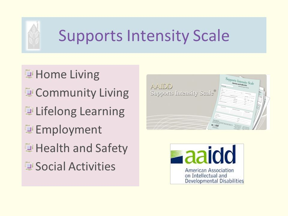 Supports Intensity Scale Home Living Community Living Lifelong Learning Employment Health and Safety Social Activities www.aaidd.org