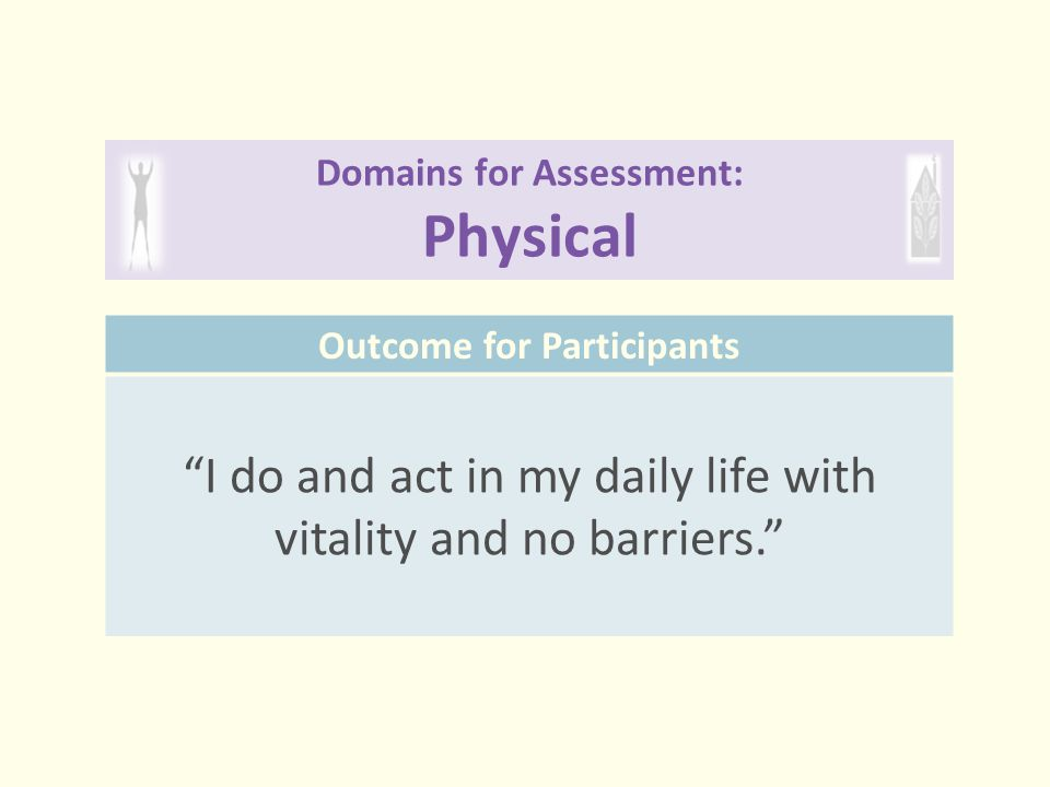 """Domains for Assessment: Physical Outcome for Participants """"I do and act in my daily life with vitality and no barriers."""""""