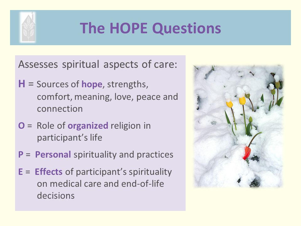 The HOPE Questions Assesses spiritual aspects of care: H = Sources of hope, strengths, comfort, meaning, love, peace and connection O = Role of organi
