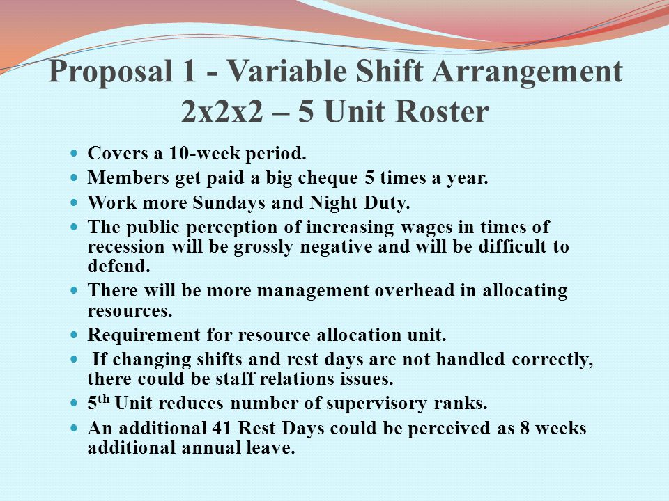 Proposal 1 - Variable Shift Arrangement 2x2x2 – 5 Unit Roster Covers a 10-week period.